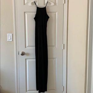 Black maxi halter dress with slits